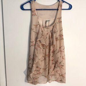 LaurenConrad pink bird racerback tank blouse large